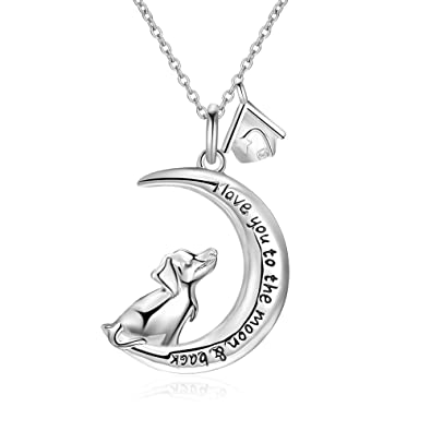 Amazon Com Yfn Sterling Silver I Love You To The Moon And Back Dog