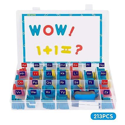 Amazon.com: Juego de 213 letras y números magnéticos de ...