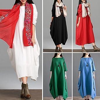 f711bfe7351 Romacci Women Maxi Sleeveless Dress Plus Size Pockets Loose Swing Tank  Tunic Dress White Red at Amazon Women s Clothing store
