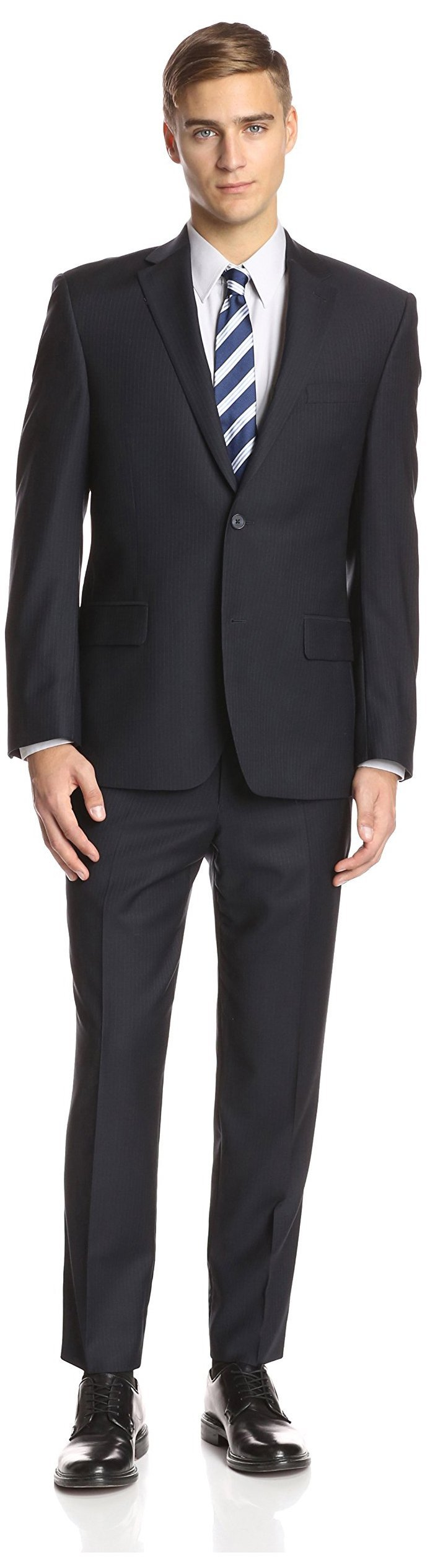 Ike Behar Men's Pinstripe Suit, Navy, 44R
