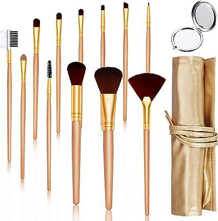 Brochas de Maquillaje HOCOSY Set de Brochas Profesional Pelo Natural 12 Piezas, para Sombra de Ojos Facial Maquillaje, Bolsa de Almacenamiento Regalos, Dorado, para ...