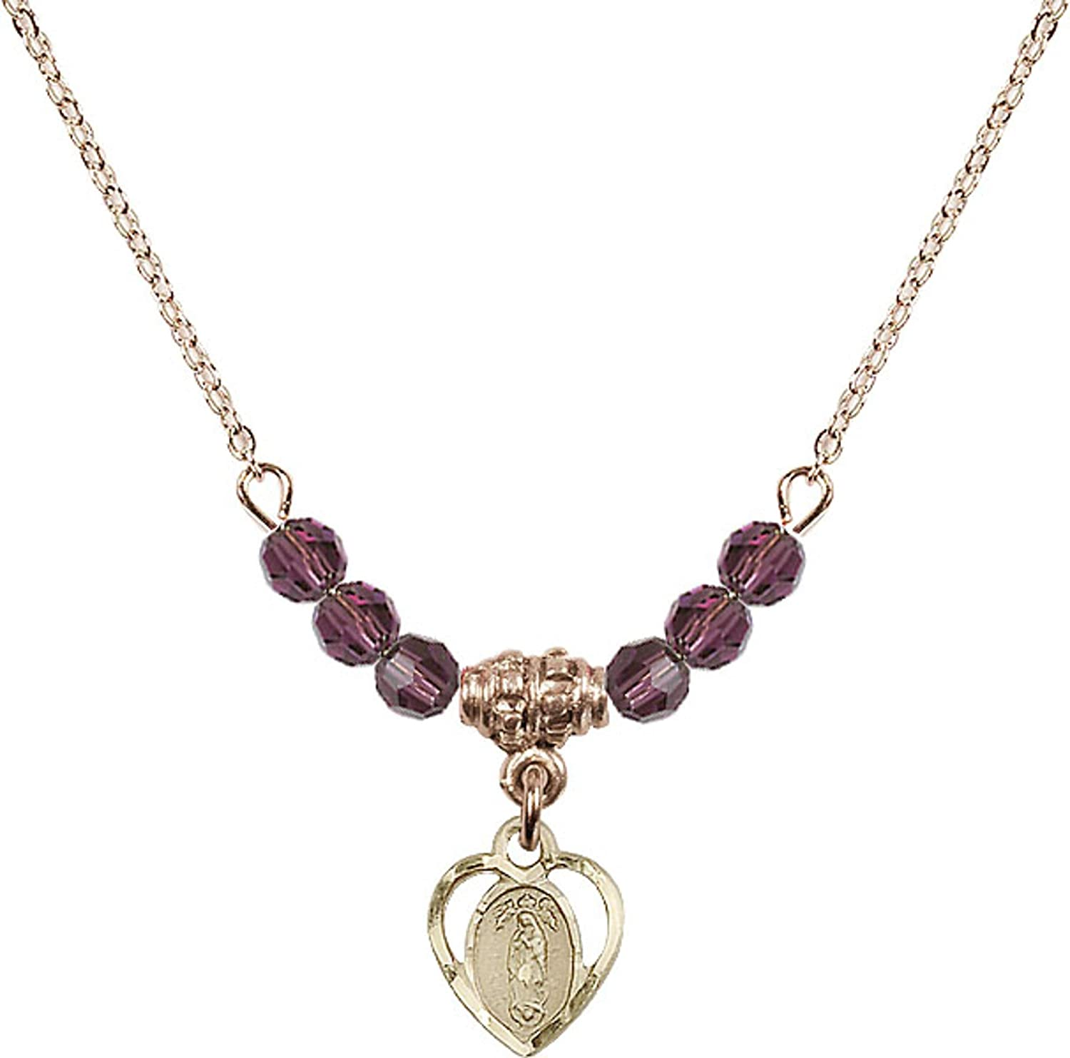 Bonyak Jewelry 18 Inch Hamilton Gold Plated Necklace w// 4mm Purple February Birth Month Stone Beads and Our Lady of Guadalupe Charm