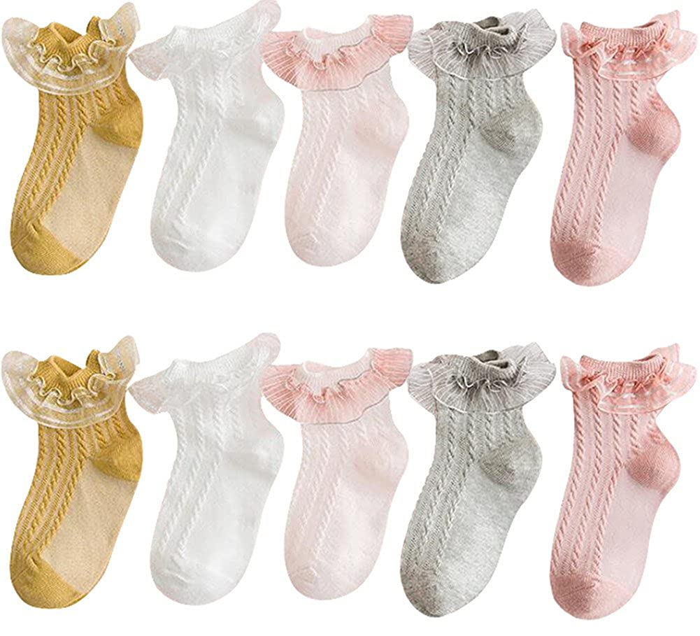 Baby Girls' Eyelet Frilly Lace Socks Cotton Ankle Sock for Toddlers Kids Little Girl