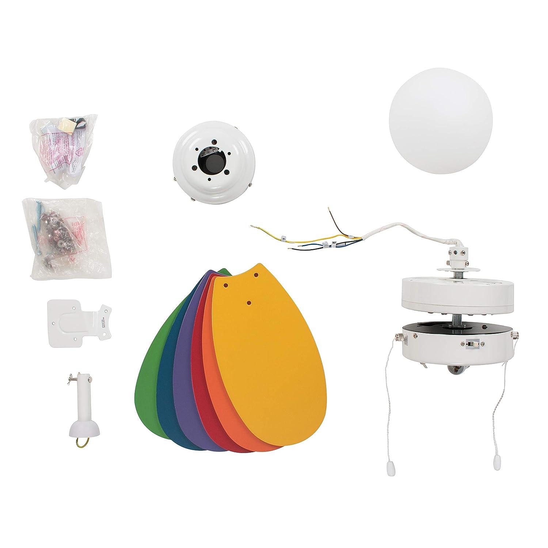 mit Milchglaslampenschirm MiniSun Moderner wei/ßer Deckenventilator mit 4 Fl/ügeln aus Buchenholz oder in wei/ß