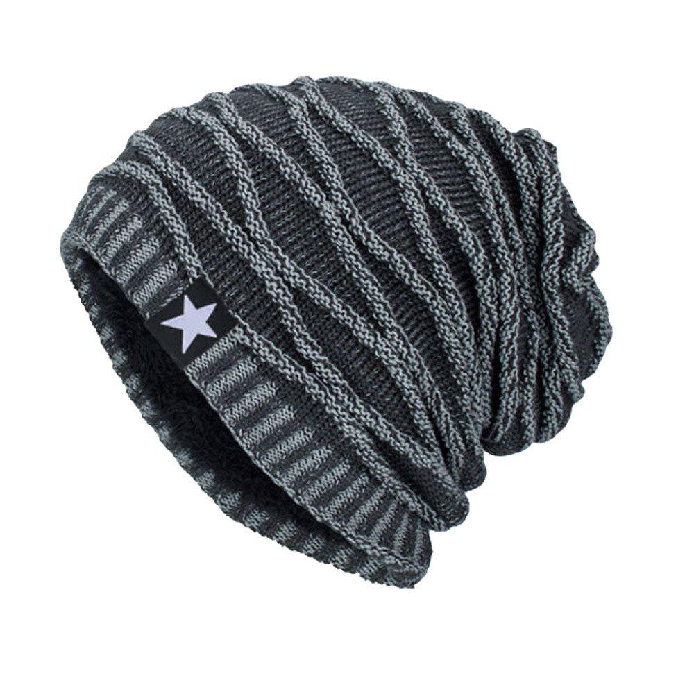 Tenworld C Unisex Mens Womens Slouchy Winter Knit Beanie Hats Chunky Ski Skull Cap