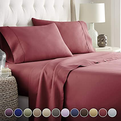 """Bed { Sizes /& Deep } New 100/% Egyptian Cotton Sheet Set Solid /"""" Burgundy/"""" 1500TC"""