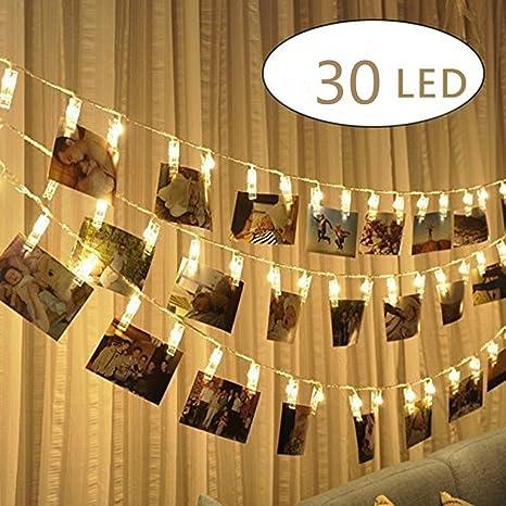 30 LED Bilder Licht dekoration schlafzimmer deko modern wohnzimmer  Fotolichterkette Lichterkette