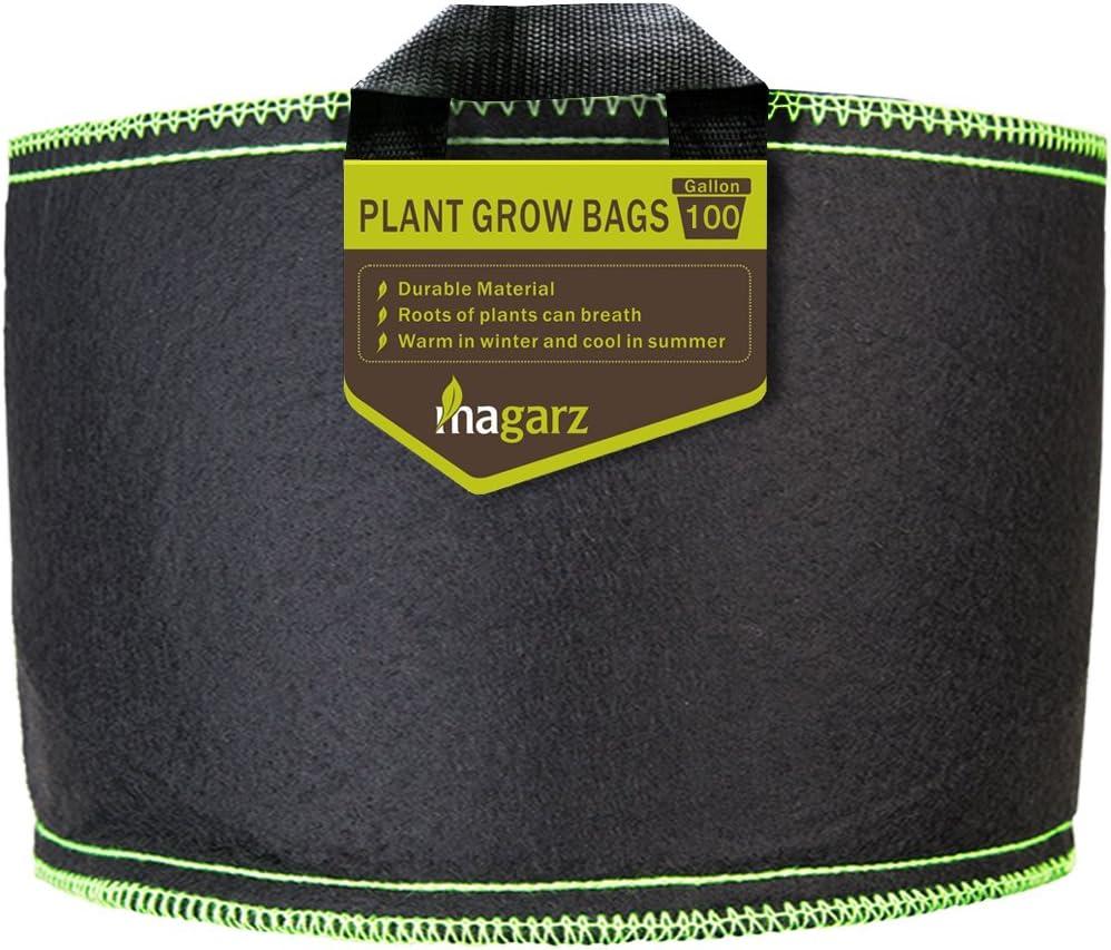 Magarz Fabric Flower Pots Garden Felt Grow Bags with Handle 100 Gallon