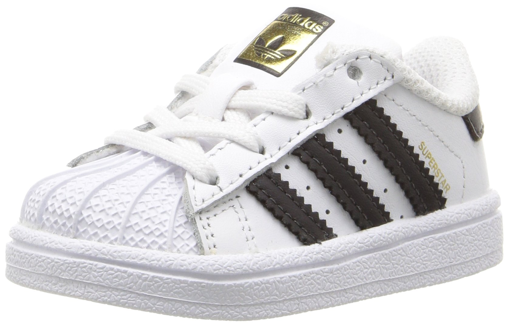 adidas Originals Boys' Superstar I Sneaker Black/White, 7 M US Toddler
