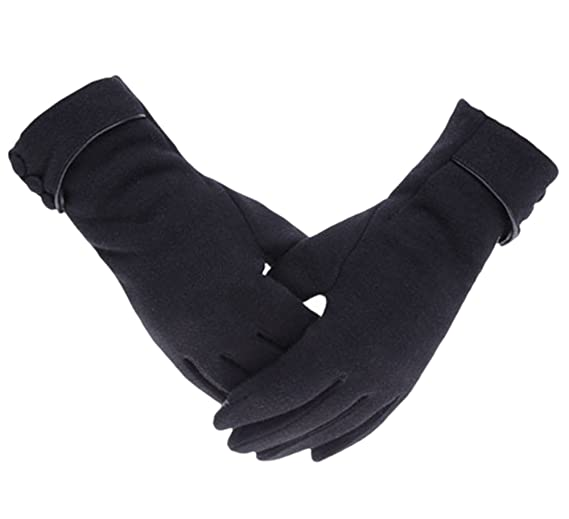 Knolee Women's Screen Gloves Warm Lined Thick Touch Warmer Winter Gloves, Black, One Size