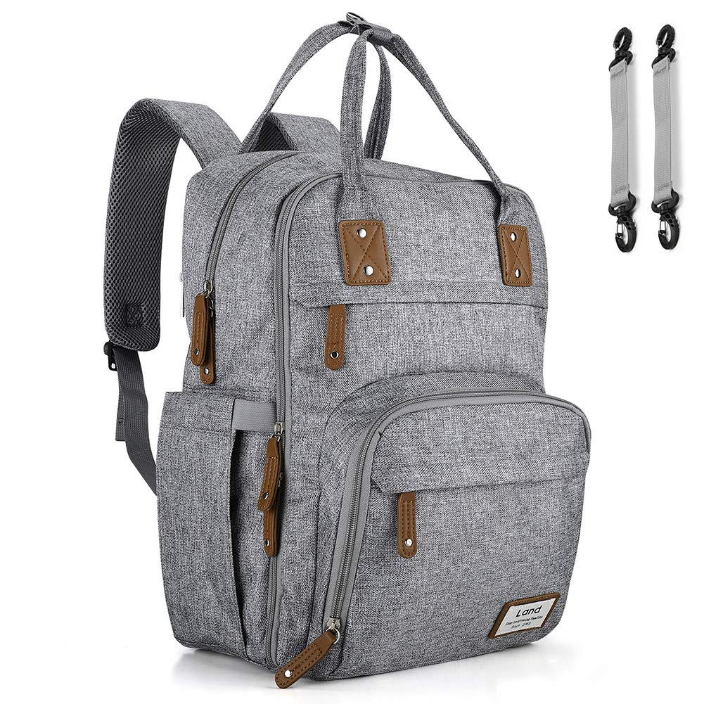 Land Diaper Bag Backpack, Ticent Travel Back Pack Maternity Baby Changing Bags w/Changing Pad & Stroller Straps, Large Capacity(Gray)