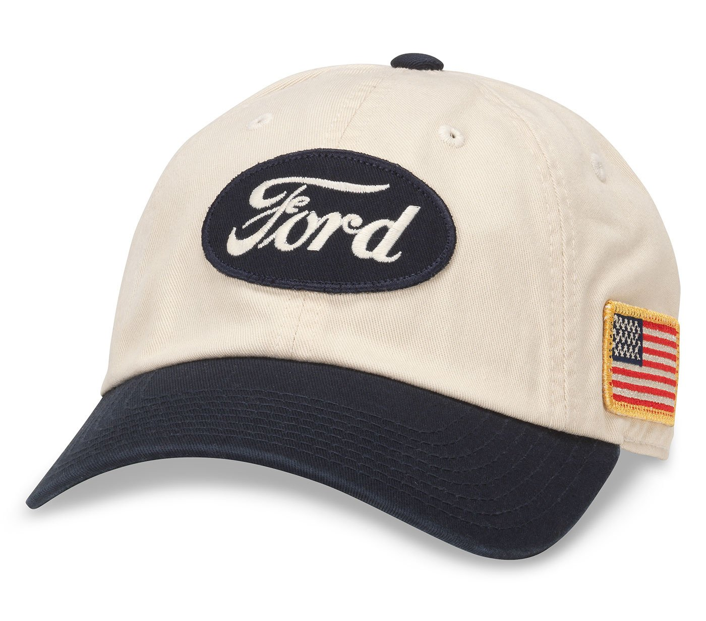 American Needle United Slouch Curved Brim Patch Baseball Hat, Ford, Ivory White/Navy Blue