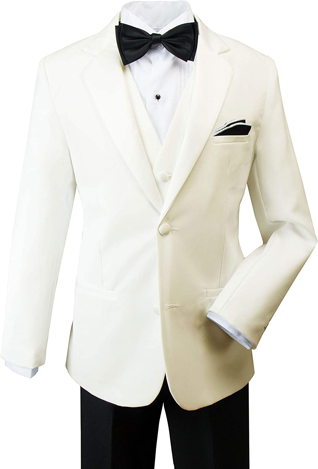 Spring Notion Boys Modern Fit Khaki Dress Suit Set with Bow Tie