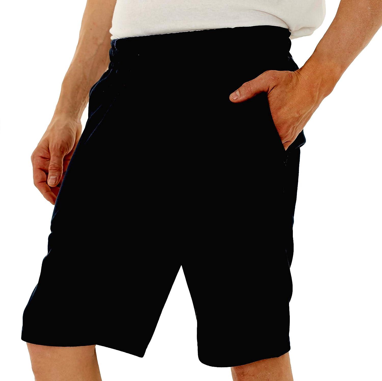 Republic Blue Men's Casual Cotton Elastic Active Jogger Gym Shorts with Pockets New York Avenue