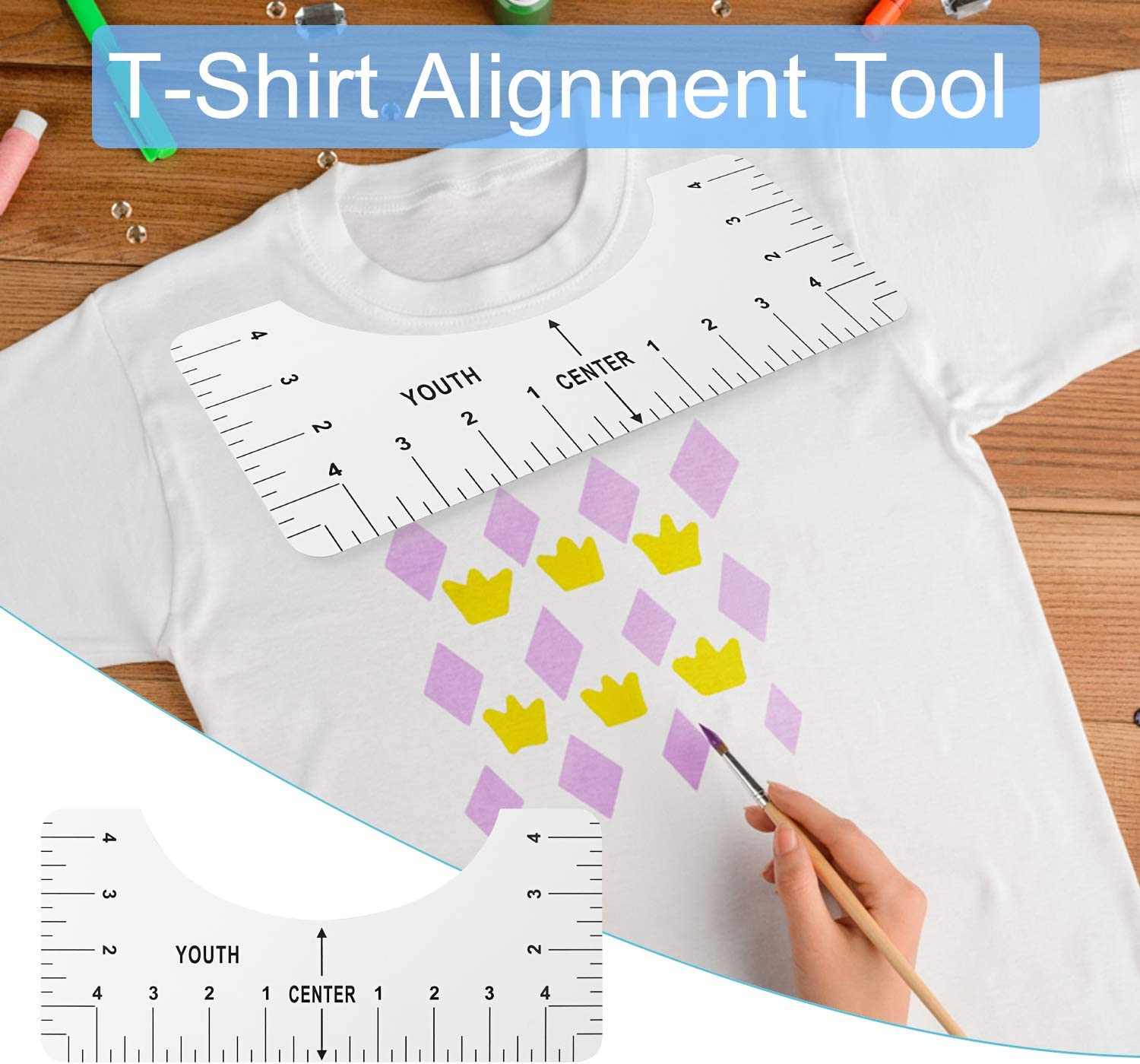 Adult Youth Toddler Infant 6 Pieces T-Shirt Ruler T-Shirt Alignment Tool T-Shirt Vinyl Guide 10/×2.5,10/×3.5,10/×4.5,10/×5,10/×6,16/×5,Inch Craft Ruler with Guide Tool for Making Fashion Center Design