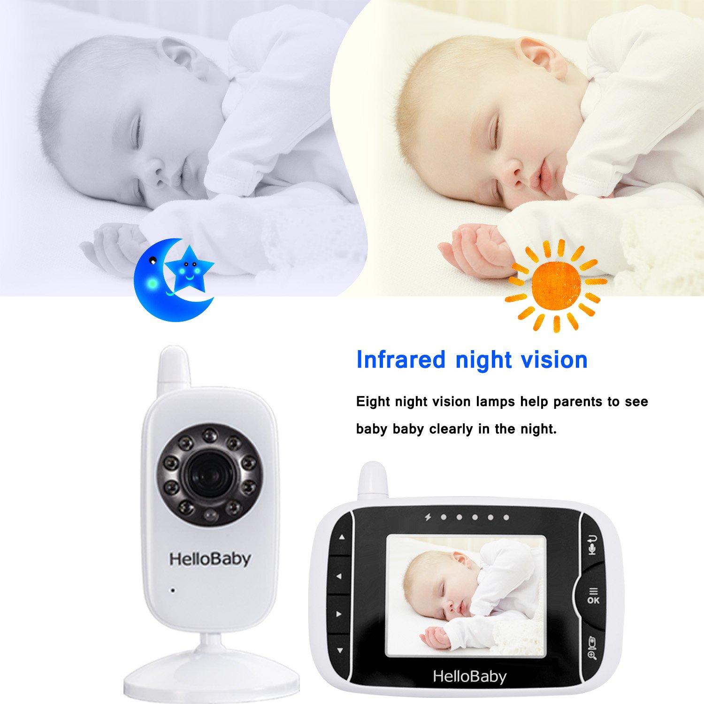 HelloBaby Vigilabebés Monitor Inalámbrico de Vídeo con Cámara Digital, Vigilancia de la Temperatura de Visión Nocturnay 2 Way Talkback System (HB28): ...