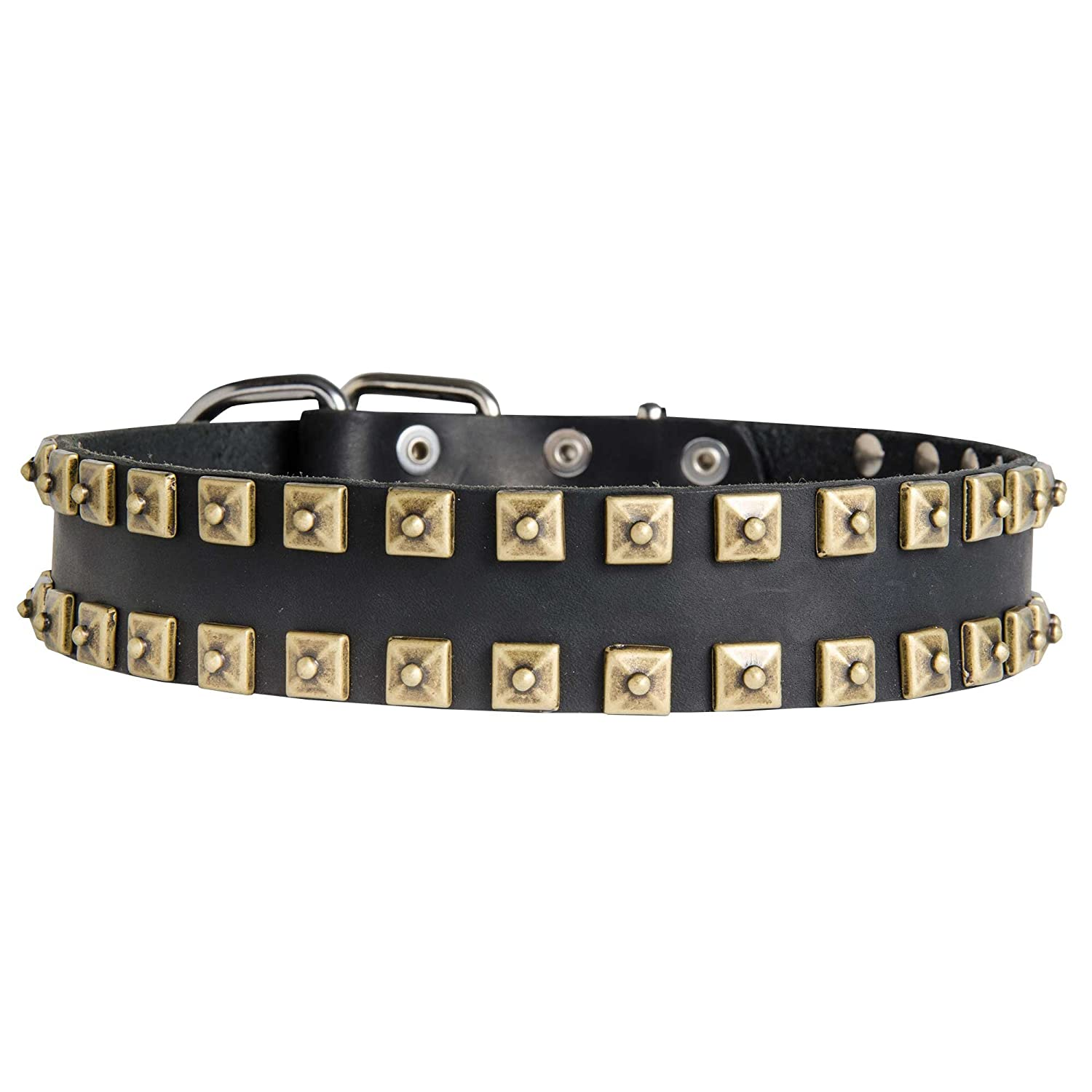 Black fits for 32 inch dog's neck size Black fits for 32 inch dog's neck size 32 inch Gorgeous War Dog Black Leather Dog Collar with Square Brass Studs  Gift from Egypt  1 1 2 inch (40 mm) wide
