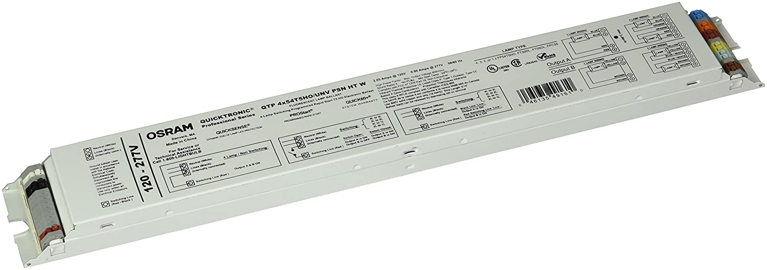 Sylvania Quicktronic 49161 4 Lamp Fluorescent Ballast F54t5 Ho Programmed Start Wiring Diagram 120 277 Volt 10 Factor Electrical Ballasts Amazon
