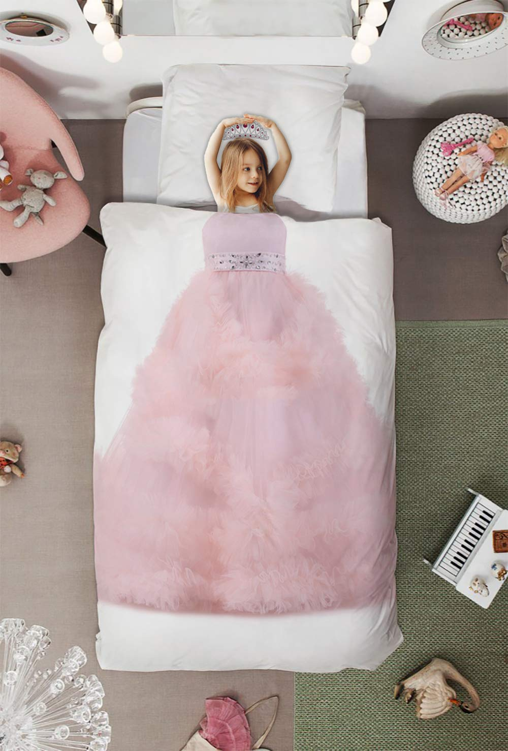Homey Room 2 Piece Bedding Sets for Boys Girls Imaginary Cosplay Twin Size, Pink Themed Princess Dress Art Print, Soft Quilt Cover Set with Duvet Cover Pillow Case for Kids Bedroom Decor Decor