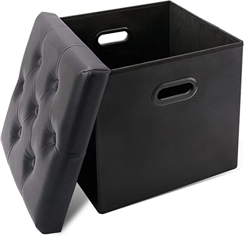 Leopard Folding Ottoman Storage Cubes, Storage Cube, Square Faux Leather Toy Box Puppy Step Storage Ottoman Bench with Hole Handles, Chair with Storage – Black
