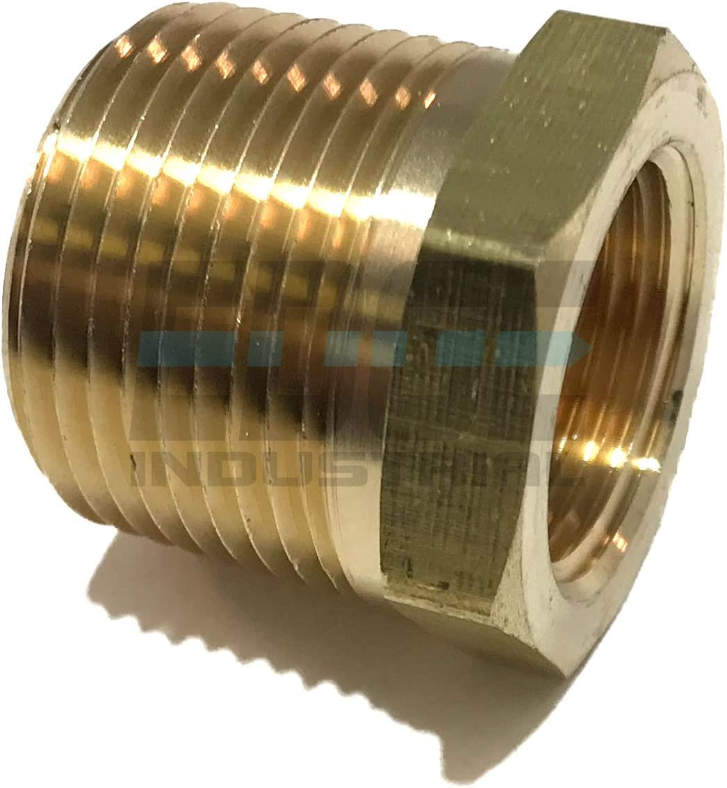 Qty 01 EDGE INDUSTRIAL Brass REDUCING HEX Bushing 1 Male NPT X 3//4 Female NPT Fuel AIR// Water Oil// Gas WOG