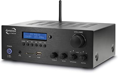 Dynavox Stereo Kompakt Verstärker Vt 80 Mk 4 Schraubbare Lautsprecher Anschlüsse Fernbedienung Für Digital Eingänge Usb Sd Card Integrierte Bt Antenne Und Fm Radio Schwarz Musikinstrumente