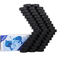 "Golden Sport Ice Hockey Pucks, 50pcs, Official Regulation, for Practicing and Classic Training, Diameter 3"", Thickness 1"", 6oz, Black"