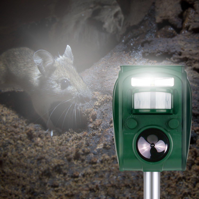 Repelente Ultrasónico, Samoleus Ahuyentador De Animales Solar Recargable Ultrasonidos para Animales Ratas, Perros, Gatos, Aves, Zorros y otros: Amazon.es: ...