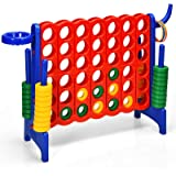COSTWAY Jumbo 4-to-Score Giant Game Set for Kids & Adults, 2.5Ft Indoor Outdoor Connect 4 Game with Basketball Hoop, Ring Gam