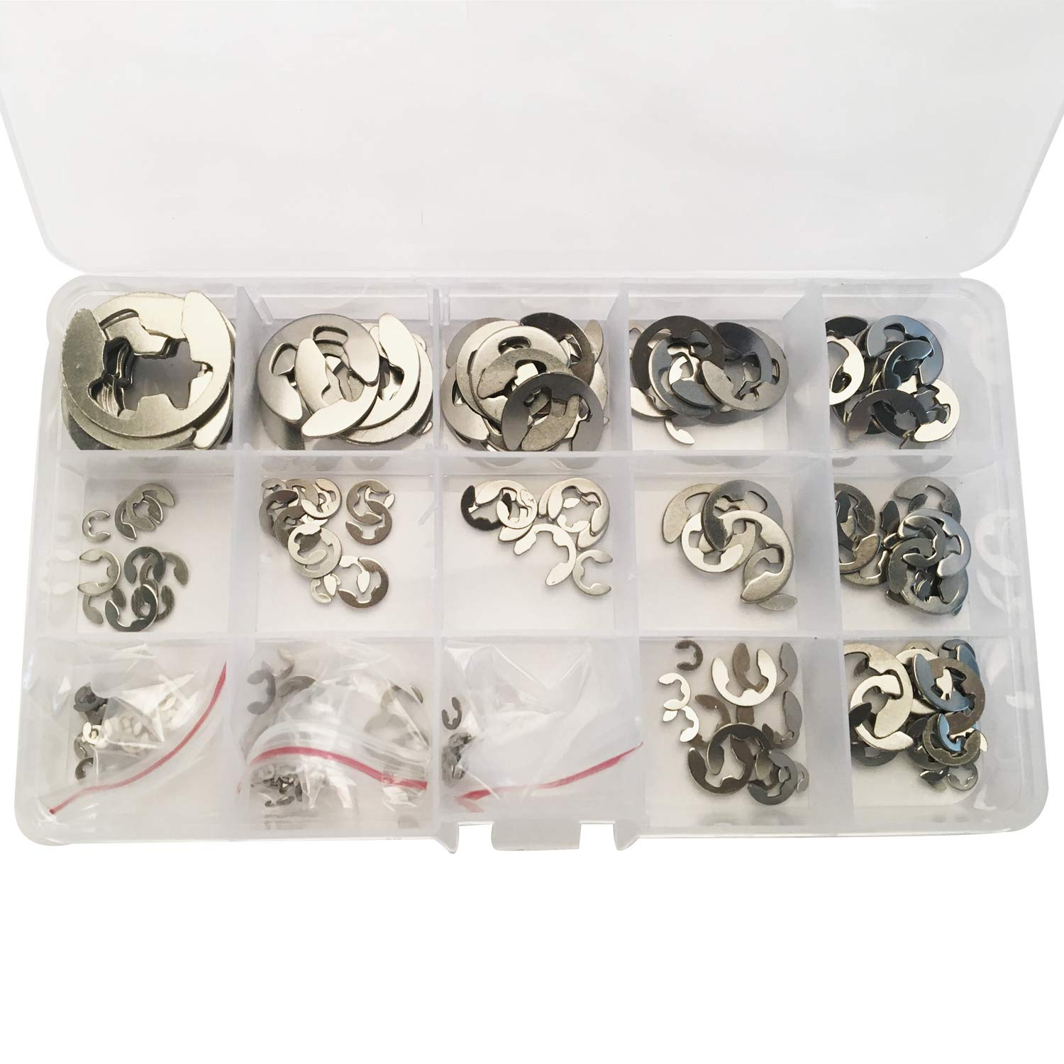 Hotetey 225Pcs Stainless Steel E-Clip External Retaining Ring Assortment Set, 15 Sizes