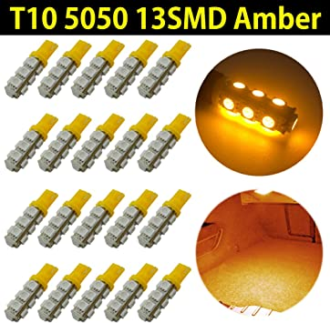50X Amber Yellow T10 5050 5SMD LED Interior Dome Map Light Bulb W5W 168 194 2825