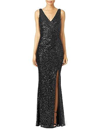 Mitchell SZ Womens Maxi V Neck Sequins Evening Prom Dresses Splits Black Size 2