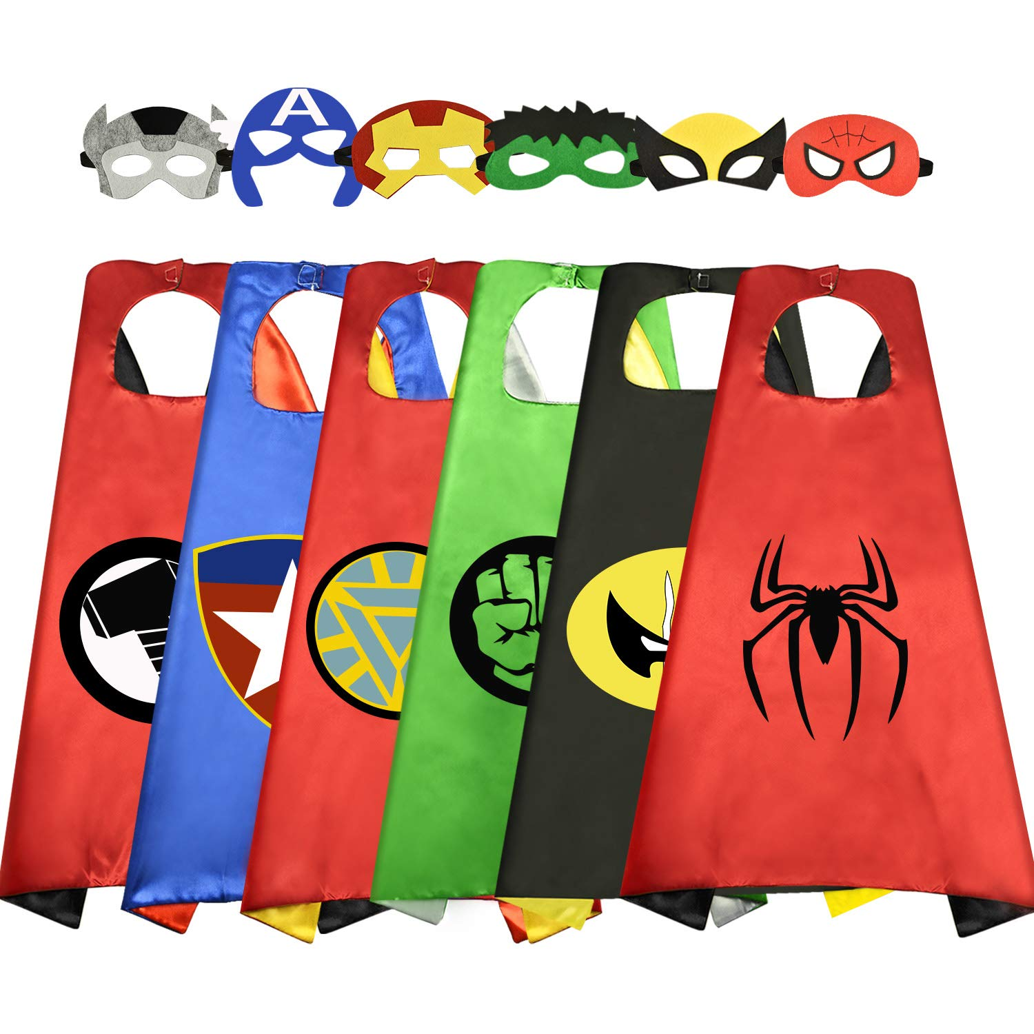 Roko 3-10 Year Old Boy Gifts, Superhero Costume for Boys Superhero Capes for Kids Boys Toys for 3-10 Year Old Boys Girls Cartoon Dress up Costumes Party Supplies Stocking Fillers 6 Pack RKUSPF06 by Roko