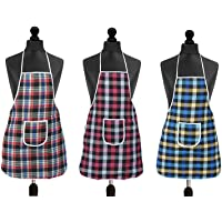 SOUXE Waterproof Cotton Kitchen Multi Colour Apron with Front Pocket - Set of 3