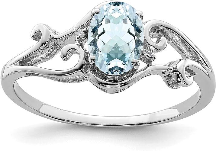 Color H-I, Clarity SI2-I1 Sterling Silver Rhodium Plated Aquamarine /& Diamond Pendant