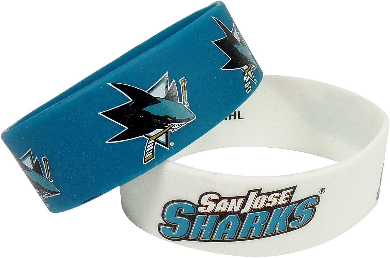 NHL San Jose Sharks Silicone Rubber Bracelet, 2-Pack