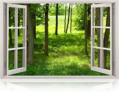Realistic Window Wall Decal – Peel and Stick Nautical Decor for Living Room, Bedroom, Office, Playroom – Woods Wall Murals Removable Window Frame Style Forest Wall Art – Vinyl Poster Wall Stickers