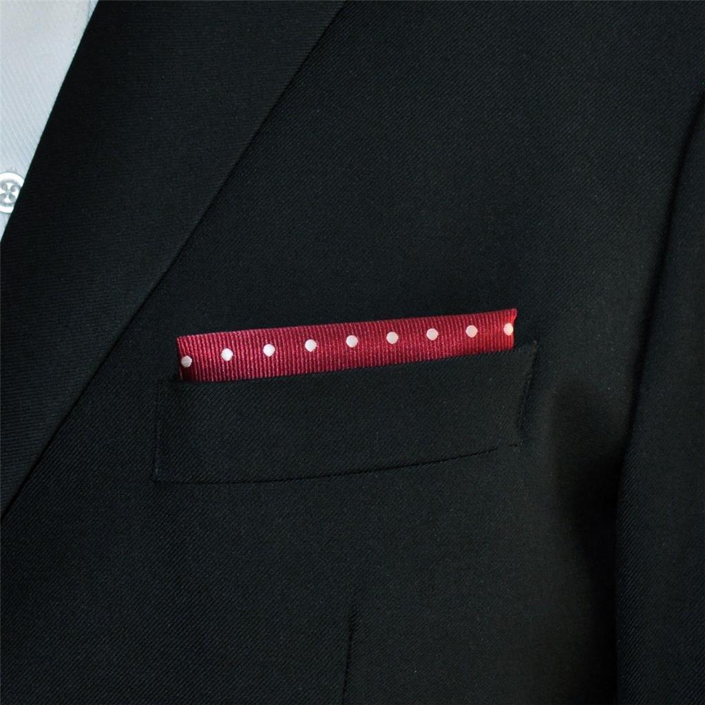Shlax/&Wing Boda Cl/ásico Hombre Seda Pa/ñuelo De Bolsillo Para Rojo Blanco Puntos 12.6