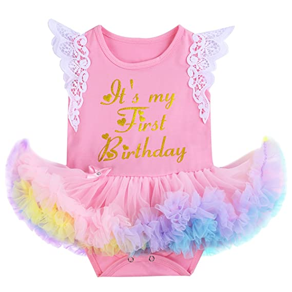 e3371b8255dc Newborn Girls It s My 1st Birthday Cake Smash Outfits Romper Ruffle Tutu  Dress Skirt + Headband + Shoes Infant Toddler Baby Shiny Unicorn Bodysuit  Princess ...