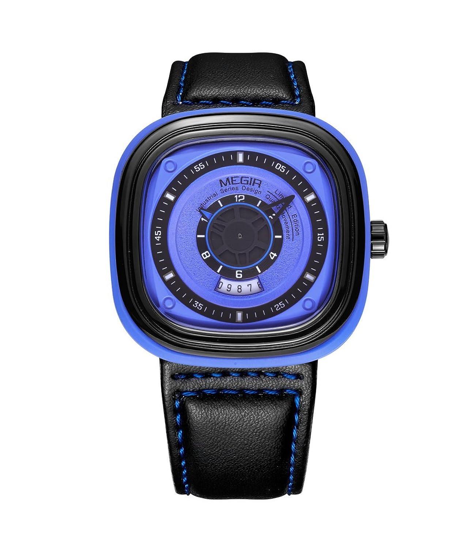 Herren-Analog Quarz Fashion Style schwarz Leder Kalender Datum Armbanduhr