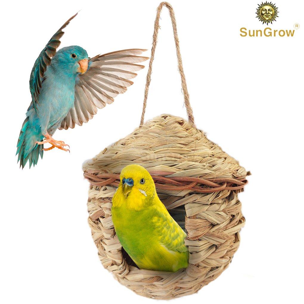 SunGrow 草の鳥の小屋 - 鳥の休憩場所 - 寒い天候からシェルターを守ります - 捕食者から鳥の隠れ家 - 手編みの涙形 - 100%天然繊維 - フィンチやカナリアに最適 Grass Bird Hut (3-Pack) B07DGXCTYJ ねぐらポケット鳥ハット(1パック)