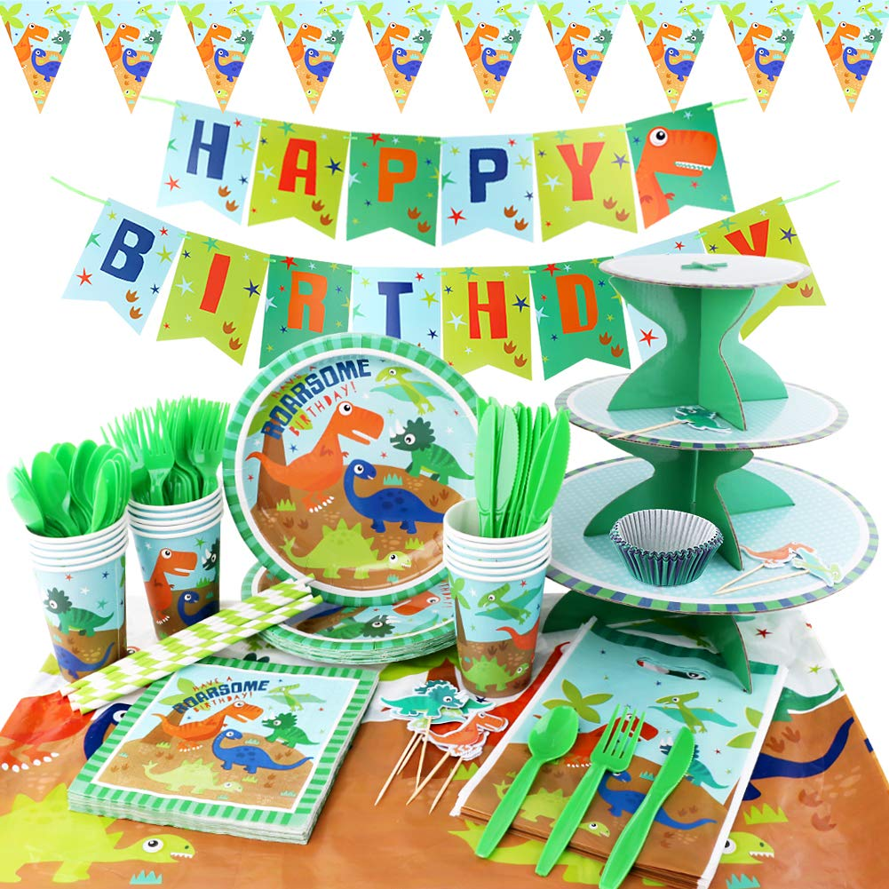 hapycity 164Pieces Dinosaur Party Supplies Set Serves 16 for Kids Birthday Theme Party Baby Shower School Party Daily Dinner