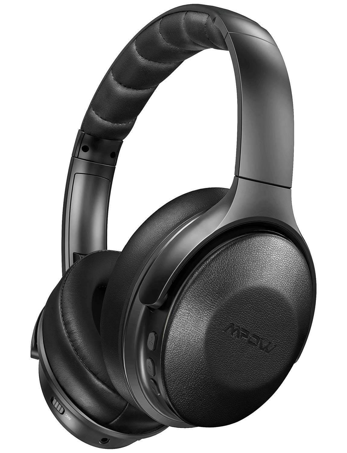 Mpow Active Noise Cancelling Headphones, Over Ear Bluetooth Headphones H17 with Quick Charge, ANC Headphones with Soft Genuine Protein Earpads, Hi-Fi Stereo Sounds, 30H Playtime for TV/Travel by Mpow
