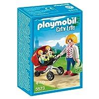 Playmobil 5573 - Jeu De Construction - Maman Avec Jumeaux Avec Landau