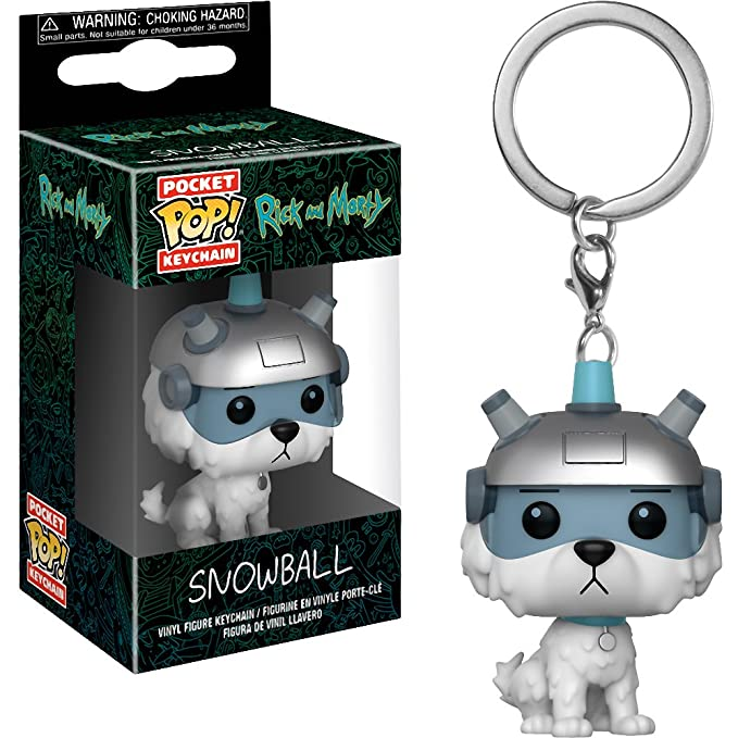 Funko Snowball: Rick & Morty x Pocket POP! Mini-Figural Keychain + 1 American Cartoon Themed Trading Card Bundle [32351]