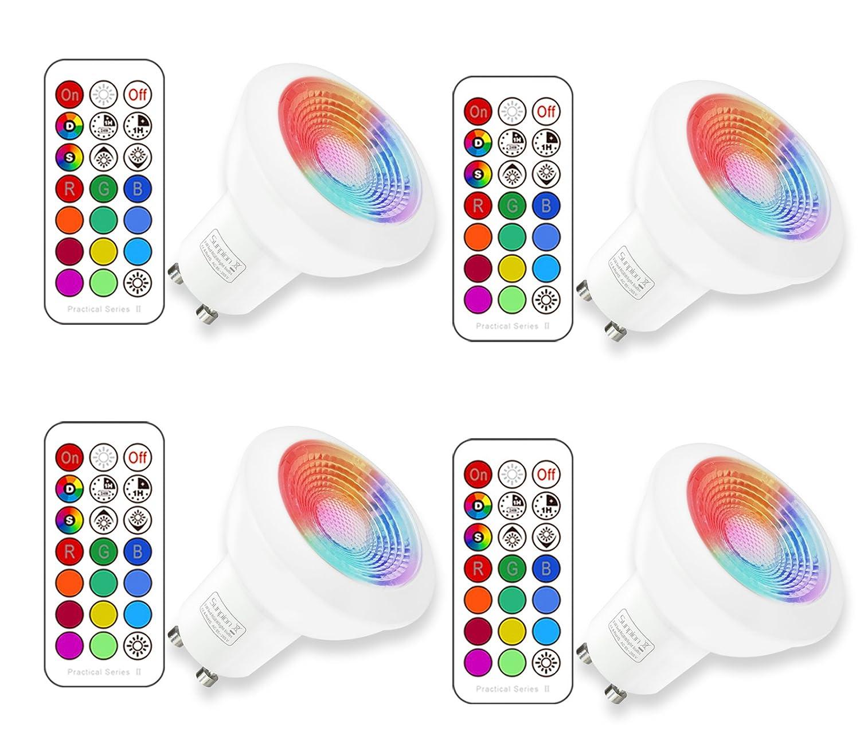 GU10 LED RGBW Lampe mit Fernbedienung|led Downlight| Warmweiß(2700 ...