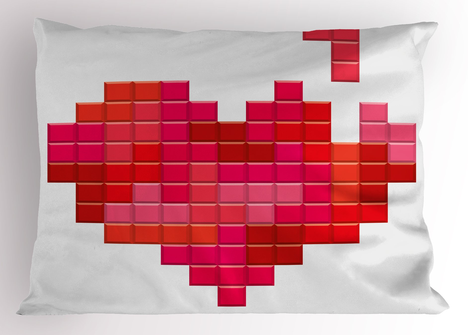 Lunarable Valentine's Day Pillow Sham, Video Game Bricks Red Heart Vintage Pixelated Design Joyful Romantic, Decorative Standard King Size Printed Pillowcase, 36 X 20 inches, Red Pink Scarlet