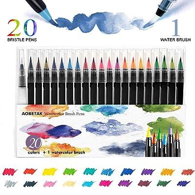Watercolor Brush Pen,AOBETAK 20 Rotuladores Acuarelables + 1 Aqua Brush Pincel,Punta de Nylon Suave y Flexible,Pinceles para Acuarela, Pintar,Principiantes,Caligrafia,Artistas,Adultos,Niños: Oficina y papelería