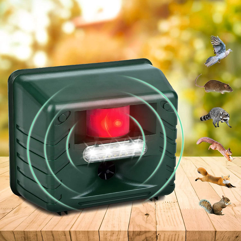 Allinall Ultrasonic Pest Animal Repeller Outdoor, Pest Animal Repeller with Strobe LED Light and Alarm to Drive Away Pest/Rodent/Deer/Cat/Dog/Fox/Mice/Bird/Skunk