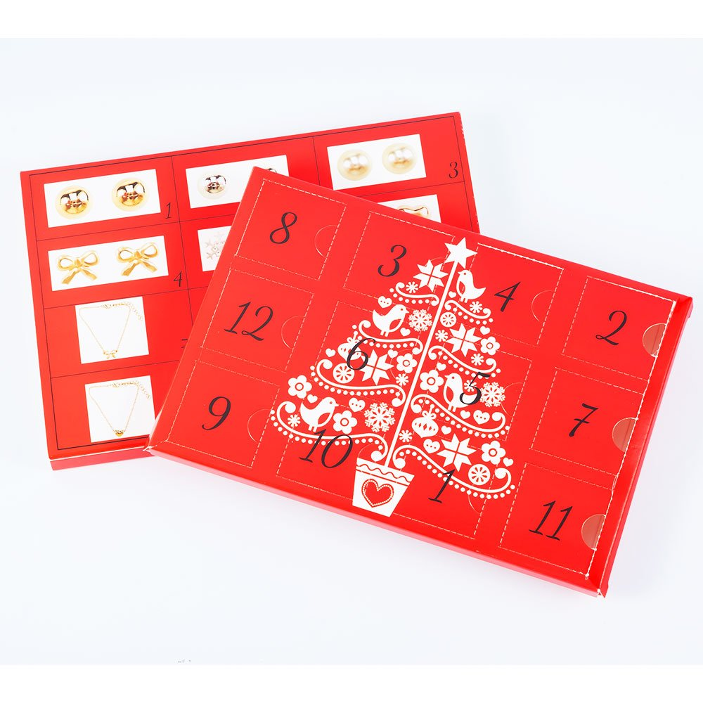 12 Day Advent Calendar for Christmas with Christmas Fashion Jewelry